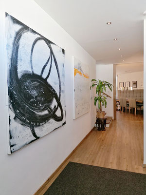 Abstrakte Leinwandbilder groß weiß schwarz