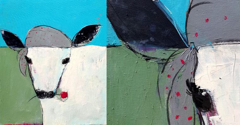 gemaltes Bild mit Kuh