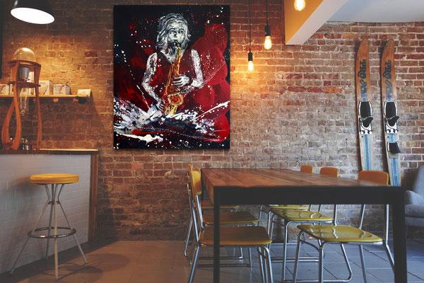 Saxofonistin gemalt