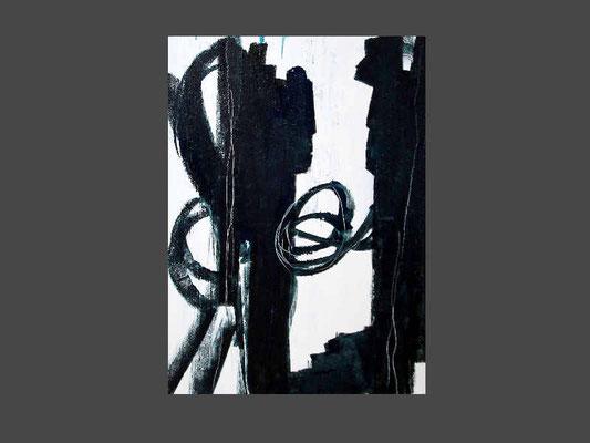 schwarzblau weiß Gemälde