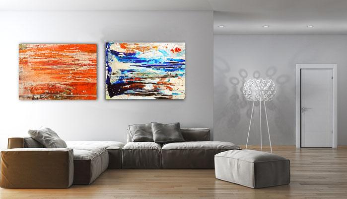 abstrakte Kunst blau orange
