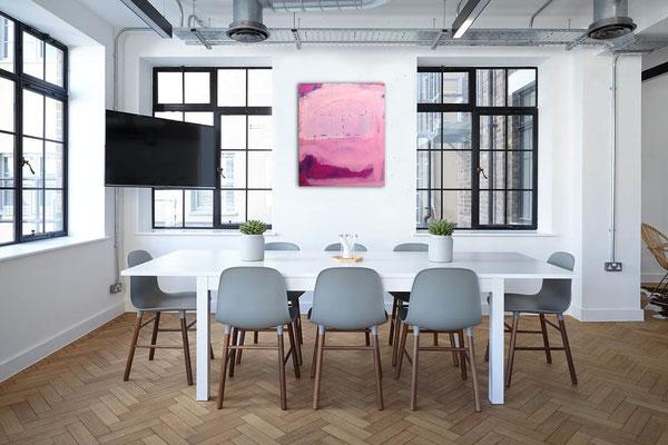 rosa lila Gemälde Büro