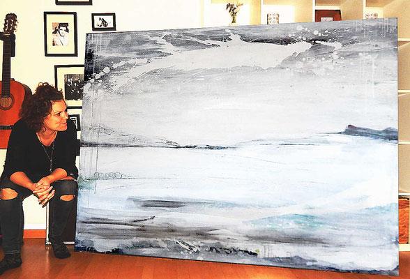 Gemälde abstrakt weiss Großfromat