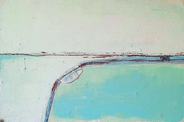 Abstrakte Wandbilder - Indianerland - türkis beige