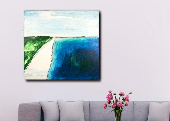 abstrakte Malerei blaue Landschaft