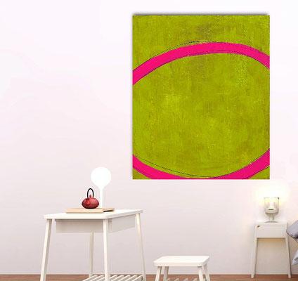 Gemälde in grün und pink