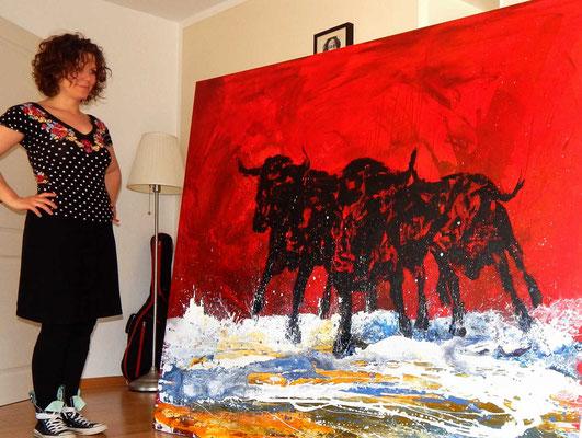 Stiere gemalt rot nr 35