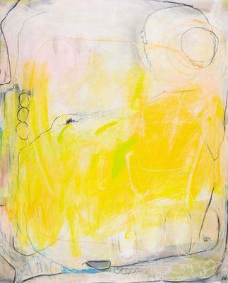Abstraktes Bidl in weiss gelb