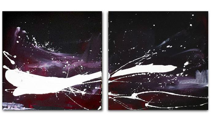 abstrakte Bilder schwarz lila weiß