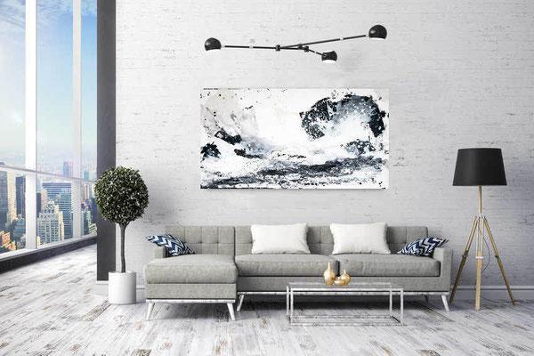 abstraktes Gemälde schwarz weiß
