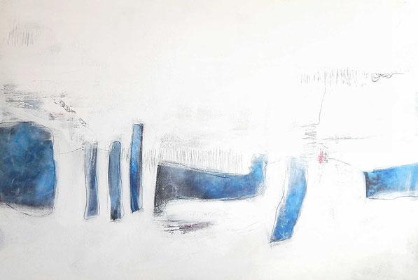 weißes Bild mit blau auftragsmalerei
