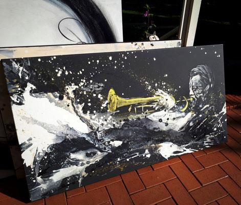 abstrakt gemalter Musiker
