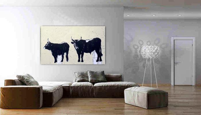 abstrakte Malerei Stiere