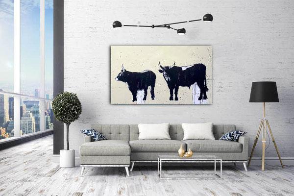 Stiere gemalt
