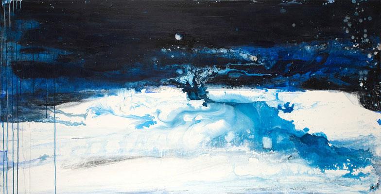 blaues abstraktes großes Bild kaufen