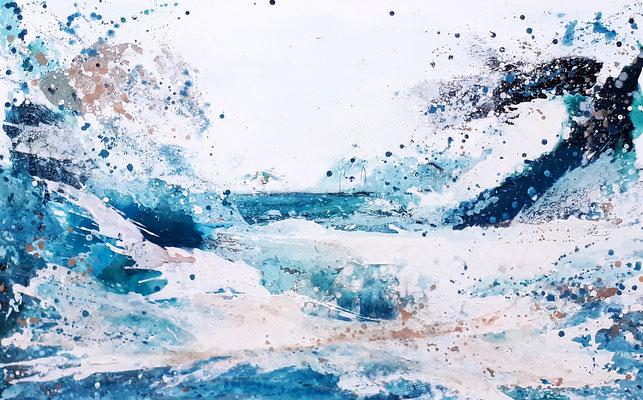 Fließtechnik Bild als Auftrag in Blau