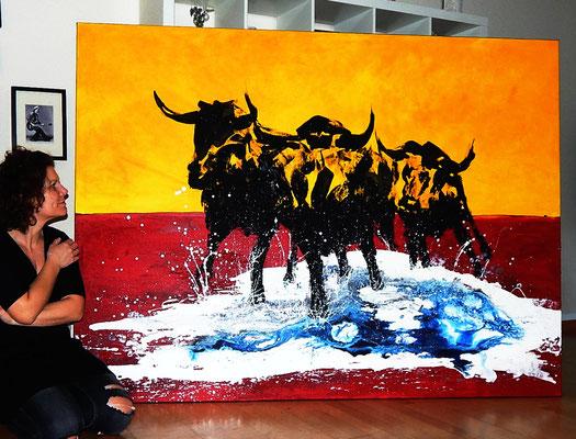 Stier gemaltes Gemälde - Entschlossenheit