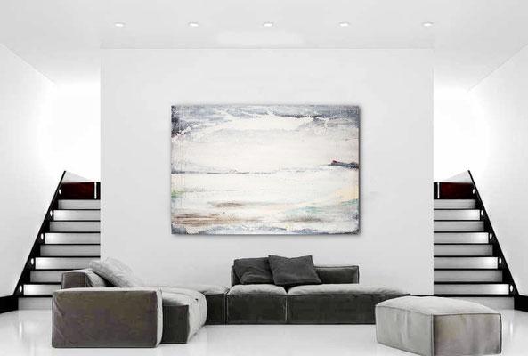 großes abstraktes weisses Bild kaufen 200 x 150 cm