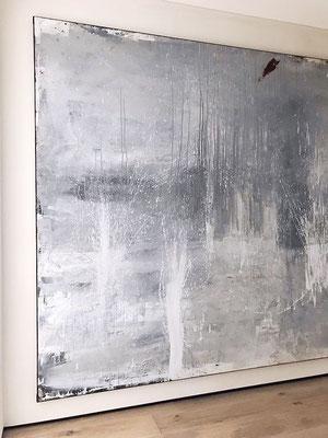 Kunst malerei grau weiss