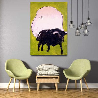 gemalter gehender Stier