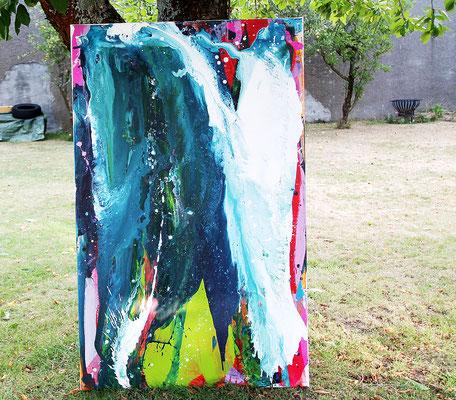abstrakte Malerei blau