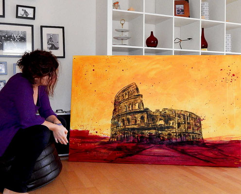 kolosseum abstrakt gemalt