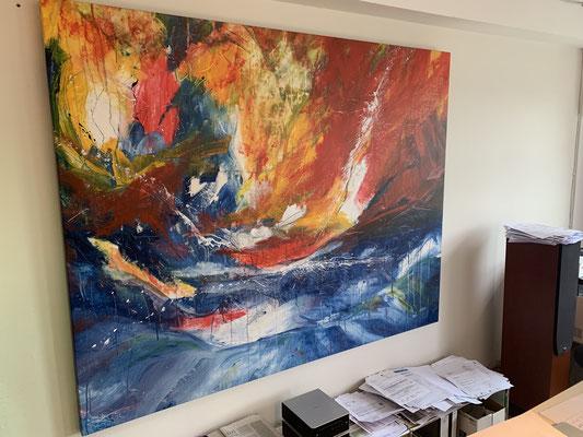 Gemälde groß abstrakt rot blau orange