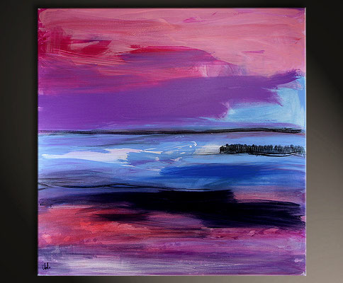 gemälde abstrakt lila blau pink