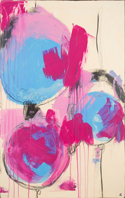 Abstraktes Bild in pink hellblau beige