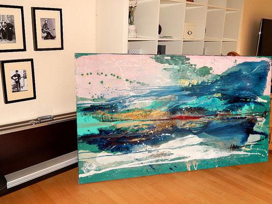 seitenansicht des blau türkis Gemäldes