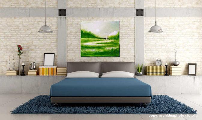 grünes Bild im Raum