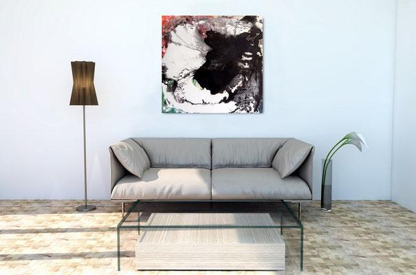 s/w Bild über Sofa