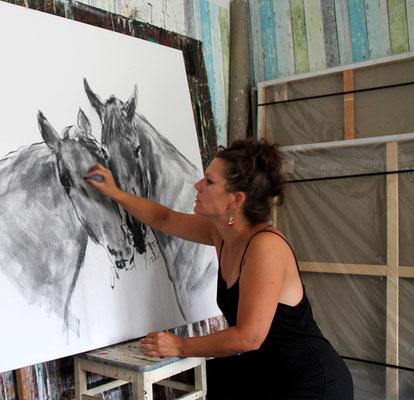 gemalte Pferde
