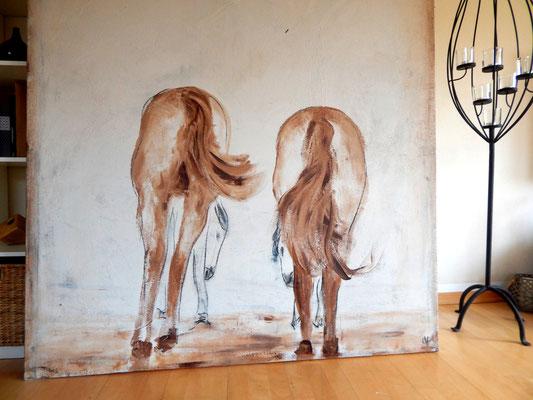 abstrakt gemalte Pferde