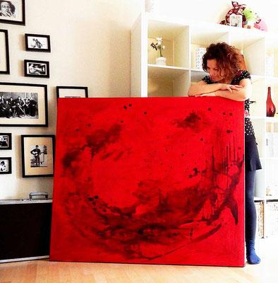 rote abstrakte Bilder groß