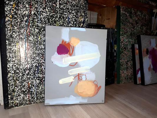 Abstraktes Bild GrauHellblau Pink