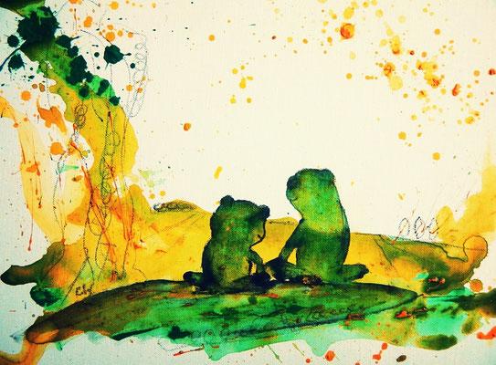 Träumendes Froschpaar  - grün gelbes buld