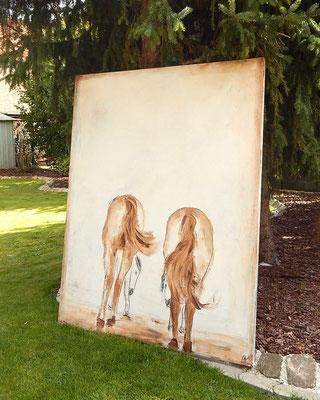 großes Bild abstrakt mit Pferden