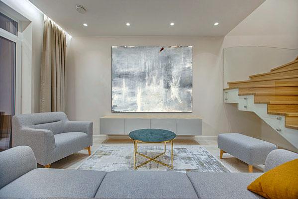 Großes Bild grau für Wohnzimmer