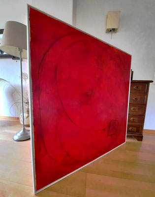Abstraktes rotes Wandbild
