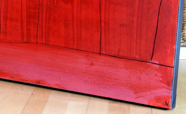 Detail rotes Bild Signatur hinten und vorn