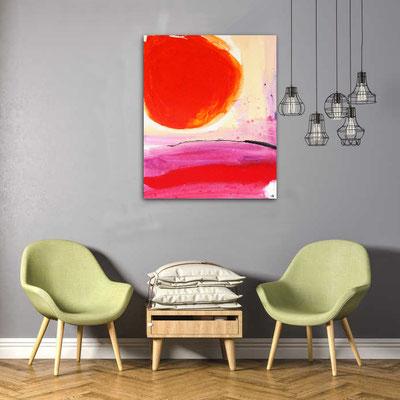 abstrakte Kunst rot gemalt