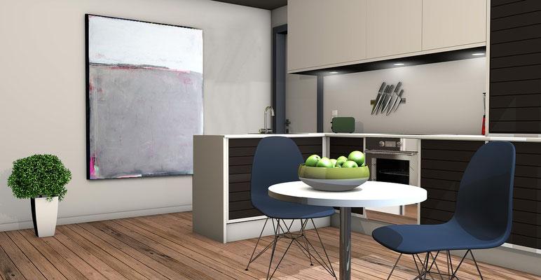 graues Bild für Küche