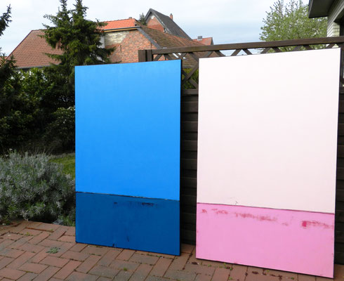 Serie - Bild blau und rosa zu sehen
