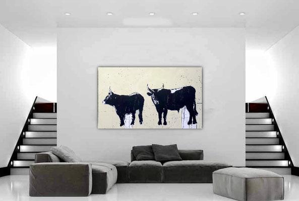 abstrakte gemalte Stiere