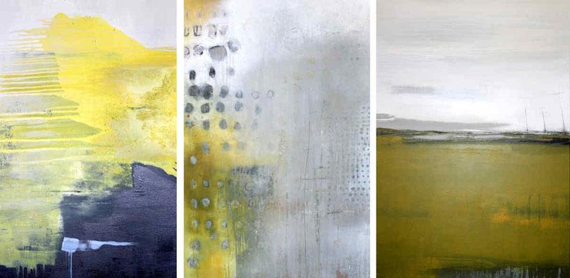 3 Gemälde abstrakt je  140 x 100 cm