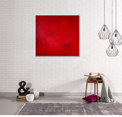 rotes gemaltes Acrylbild