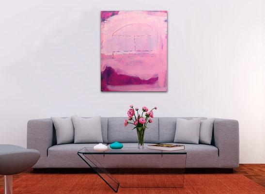 abstraktes Bild in rosa pink brombeer
