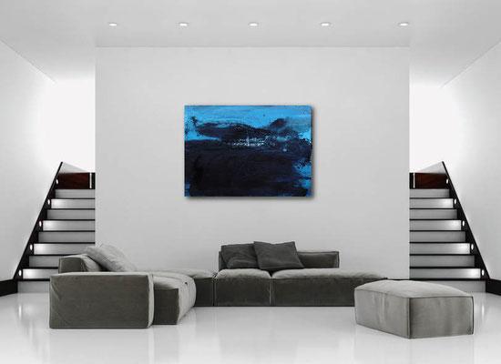 abstraktes bild blau acryl