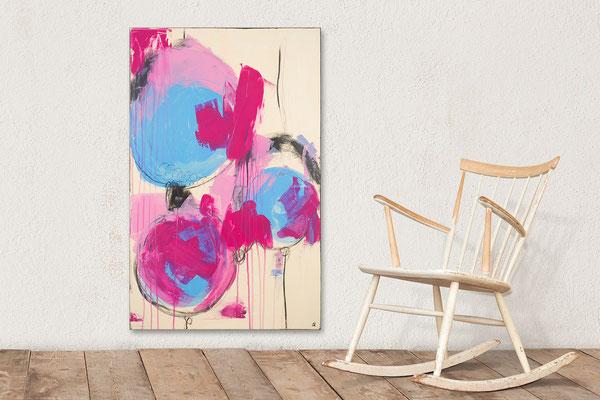 Malerei in pink hellblau